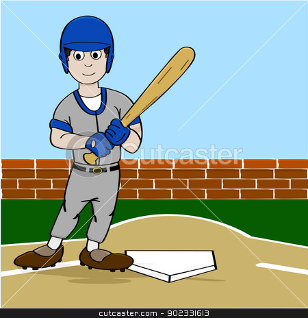 Baseball player stock vector clipart, Cartoon illustration showing a baseball player holding a bat near homeplate by Bruno Marsiaj