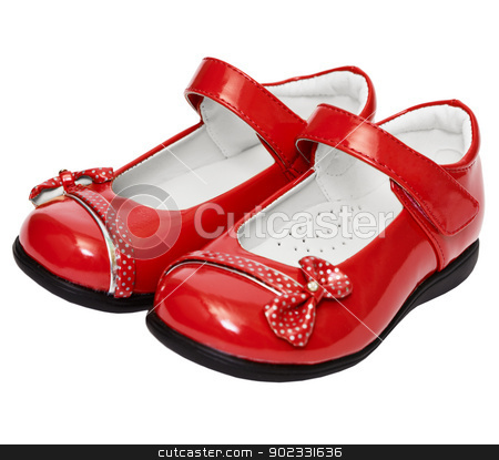 Female red shoes on white background stock photo, Lady's red shoes isolated on white background by Alexey Romanov