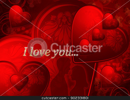 Valentines Card stock photo, Red Valentines Card With  Hearts And Two Silhouette Of Young Lovers by Olga Altunina