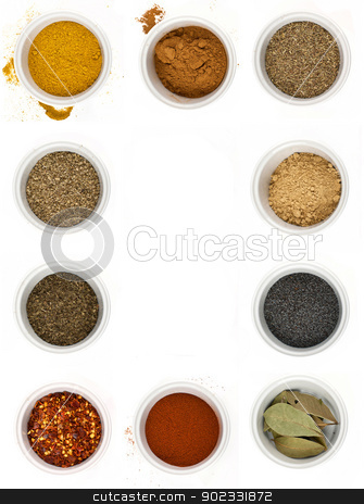 spices stock photo, different types of spices isolated on white background by Desislava Dimitrova