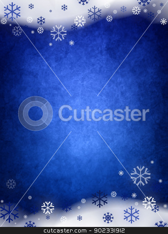 Ice Blue Christmas Background stock photo, Ice Blue Christmas Background With Snow And Snowflakes by Olga Altunina