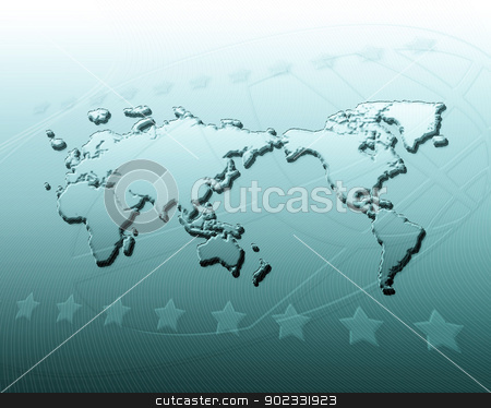 Geography Abstract Background stock photo, Blue Abstract Background With World Map And Stars by Olga Altunina