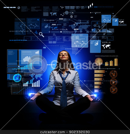 Business woman with financial symbols around stock photo, Businesswoman with financial symbols around her on the background by Sergey Nivens