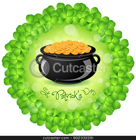 St. Patricks Day Cauldron with Gold Coins stock vector clipart, St. Patricks Day Cauldron with Gold Coins and Shamrock Around by Vadym Nechyporenko