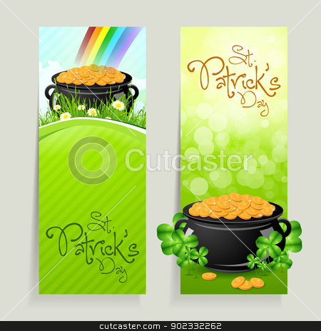 Set of St. Patricks Day Cards stock vector clipart, Set of St. Patrick's Day Cards with Cauldron of Gold Coins by Vadym Nechyporenko