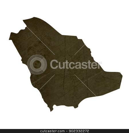 Dark silhouetted map of Saudi Arabia stock photo, Dark silhouetted and textured map of Saudi Arabia isolated on white background. by Martin Crowdy