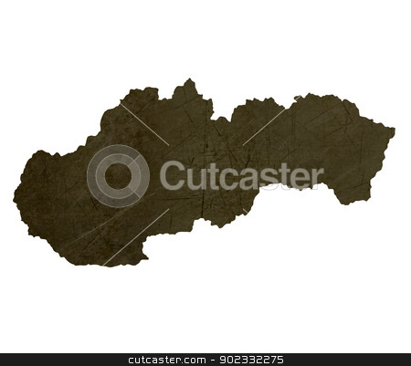 Dark silhouetted map of Slovakia stock photo, Dark silhouetted and textured map of Slovakia isolated on white background. by Martin Crowdy