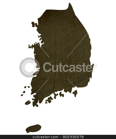 Dark silhouetted map of South Korea stock photo, Dark silhouetted and textured map of South Korea isolated on white background. by Martin Crowdy