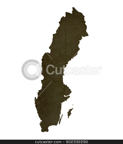 Dark silhouetted map of Sweden stock photo, Dark silhouetted and textured map of Sweden isolated on white background. by Martin Crowdy