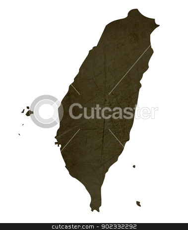 Dark silhouetted map of Taiwan stock photo, Dark silhouetted and textured map of Taiwan isolated on white background. by Martin Crowdy