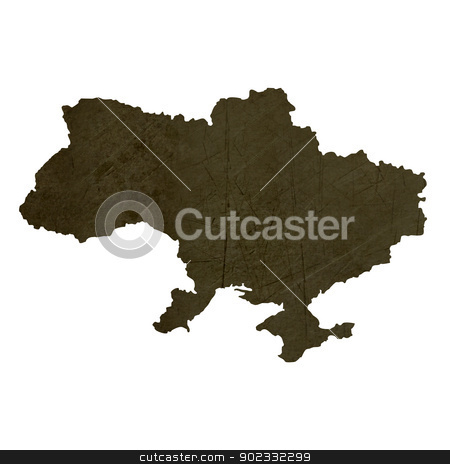 Dark silhouetted map of Ukraine stock photo, Dark silhouetted and textured map of Ukraine isolated on white background. by Martin Crowdy
