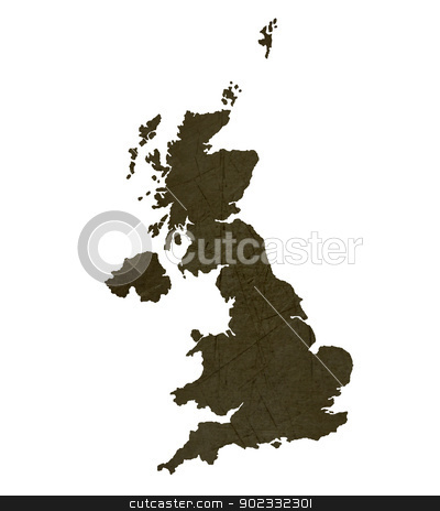 Dark silhouetted map of United Kingdom stock photo, Dark silhouetted and textured map of United Kingdom isolated on white background. by Martin Crowdy
