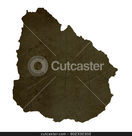 Dark silhouetted map of Uruguay stock photo, Dark silhouetted and textured map of Uruguay isolated on white background. by Martin Crowdy