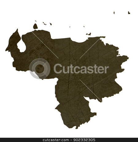 Dark silhouetted map of Venezuela stock photo, Dark silhouetted and textured map of Venezuela isolated on white background. by Martin Crowdy