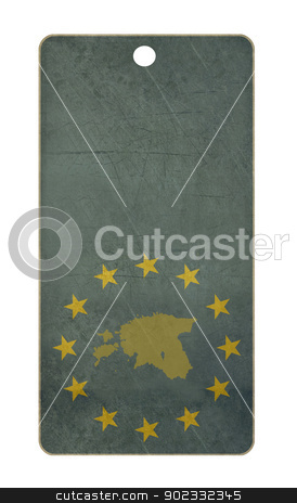 Estonia travel tag stock photo, Estonia travel tag isolated on white background with copy space.  by Martin Crowdy