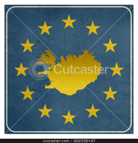 Iceland European sign stock photo, Iceland European sign isolated on white background.  by Martin Crowdy