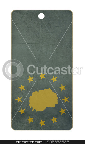 Macedonia travel tag stock photo, Macedonia travel tag isolated on white background with copy space.  by Martin Crowdy