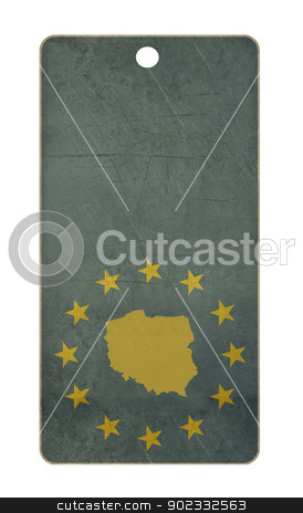Poland travel tag stock photo, Poland travel tag isolated on white background with copy space.  by Martin Crowdy