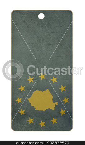 Romania travel tag stock photo, Romania travel tag isolated on white background with copy space.  by Martin Crowdy