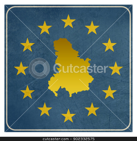 Serbia and Montenegro European sign stock photo, Serbia and Montenegro European sign isolated on white background.  by Martin Crowdy