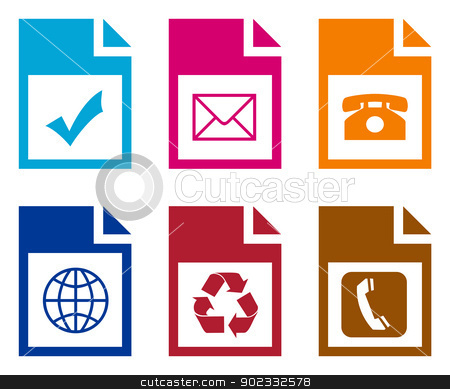 Set of computer folders stock photo, Set of computer files with pictograms. by Martin Crowdy