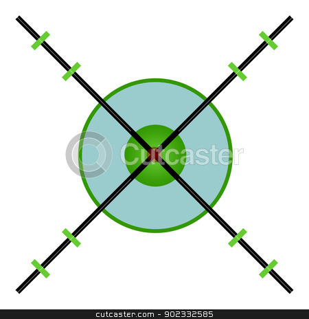 Sniper target sight cross hairs stock photo, Cross hairs of sniper rifle sight isolated on white background. by Martin Crowdy