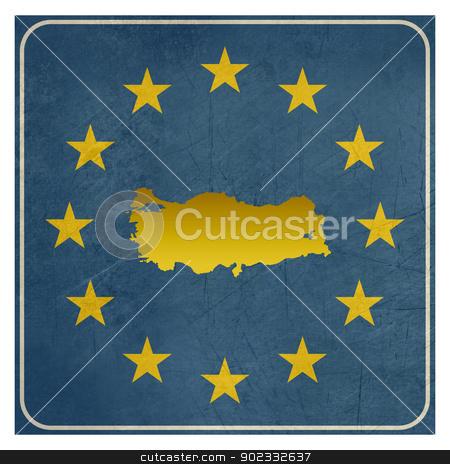 Turkey European sign stock photo, Turkey European sign isolated on white background.  by Martin Crowdy