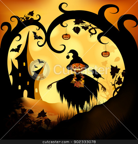 Halloween background stock photo, Halloween bitmap illustration background with pumpkin by Olga Altunina