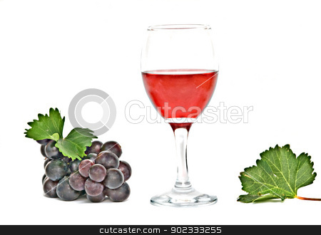 Goblet with wine and grapevine isolated on white background  stock photo, Goblet with wine and grapevine isolated on white background  by vaeenma