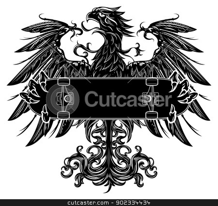 Eagle with skateboard stock vector clipart, Heraldic eagle holding a skateboard by Moenez