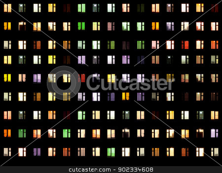 Seamless texture - night windows stock photo, Seamless texture from set of windows on a black background - night by Alexey Romanov