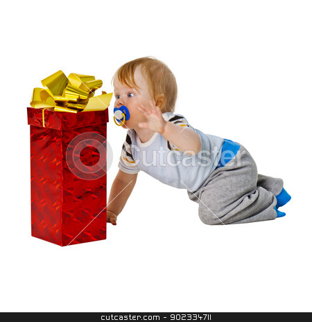 A little boy gets a big gift in red box stock photo, A little boy gets a big gift in red box isolated on white background by Alexey Romanov