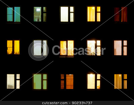 Night windows - block of flats background stock photo, Night windows of the old block of flats by Alexey Romanov