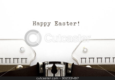 Typewriter Happy Easter stock photo, Happy Easter greeting printed on an old typewriter. by Ivelin Radkov