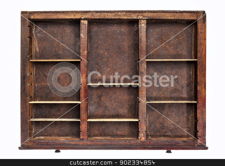 old typesetter drawer stock photo, vintage wood  printer  (typesetter) drawer with dividers, isolated on white by Marek Uliasz