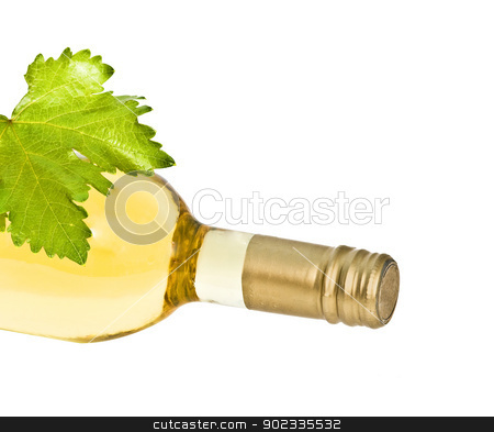 bottle of wine with leaf stock photo, bottle ofwine with leaf by vaeenma