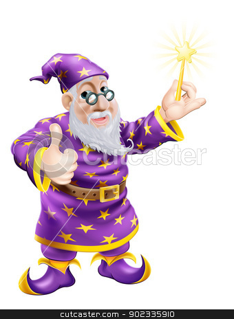 Thumbs up Wizard with Wand stock vector clipart, A drawing of a cute friendly old wizard character holding a wand and giving a thumbs up by Christos Georghiou