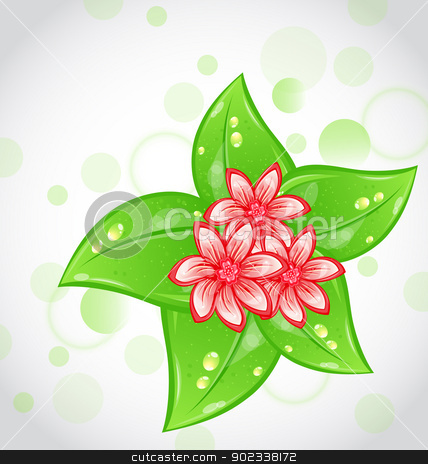 Spring background with flowers and leaves stock vector clipart, Illustration spring background with flowers and leaves - vector by -=Mad Dog=-