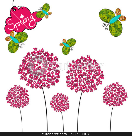 Cute spring background stock vector clipart, Fresh Spring background with butterfly and flower. Vector file layered for easy manipulation and custom coloring. by Cienpies Design