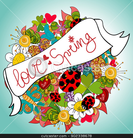 Fresh love spring stock vector clipart, Love spring vibrant colors composition background. Vector file layered for easy manipulation and custom coloring. by Cienpies Design