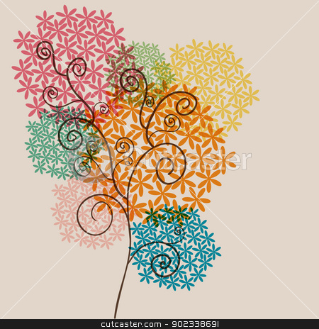Twirl transparency blossom stock vector clipart, Spring cute transparent flowers composition background. EPS10 file version. This illustration contains transparencies and is layered for easy manipulation and customization. by Cienpies Design