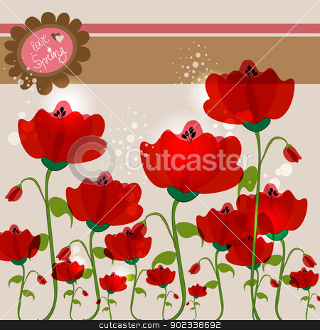 Love spring stock vector clipart, Spring love background with contemporary transparent flowers. EPS10 file version. This illustration contains transparencies and is layered for easy manipulation and customization. by Cienpies Design