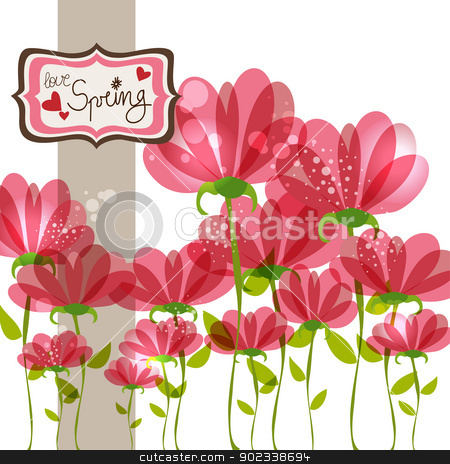 Spring fall in love stock vector clipart, Love in Spring time contemporary transparent flowers background. EPS10 file version. This illustration contains transparencies and is layered for easy manipulation and customization. by Cienpies Design