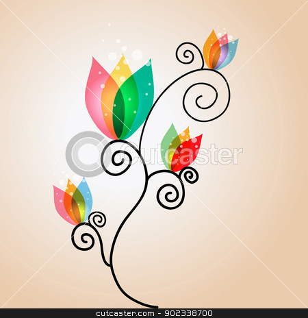Curly transparency flowers stock vector clipart, Spring time contemporary transparent flowers background. EPS10 file version. This illustration contains transparencies and is layered for easy manipulation and customization. by Cienpies Design