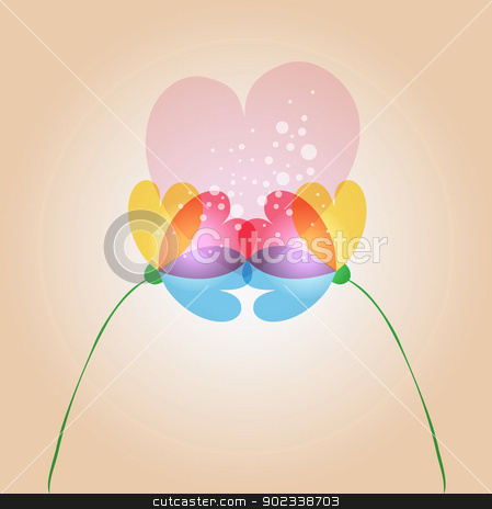 Love transparency flowers stock vector clipart, Spring time contemporary transparent couple of flowers in love. EPS10 file version. This illustration contains transparencies and is layered for easy manipulation and customization. by Cienpies Design
