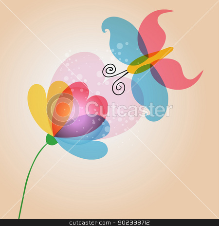 Butterfy and flower love stock vector clipart, Spring time lovely transparent flower and butterfly. EPS10 file version. This illustration contains transparencies and is layered for easy manipulation and customization. by Cienpies Design