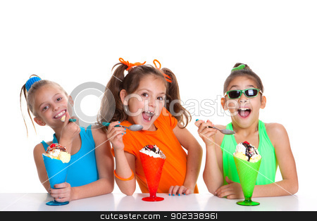 children eating icecream stock photo, happy children eating icecream sundaes by mandygodbehear