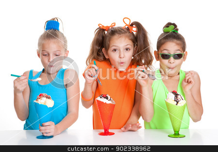 children eating icecream sundae treats stock photo, children with icecream sundae treat desserts by mandygodbehear