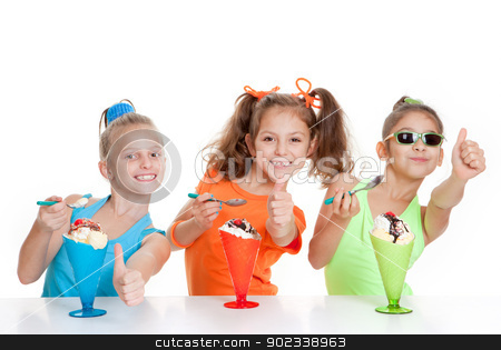 happy kids with thumbs up to eating stock photo, happy kids with thumbs up to eating icecream desserts by mandygodbehear