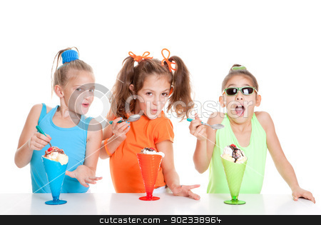 summer children stock photo, happy summer children eating icecream by mandygodbehear